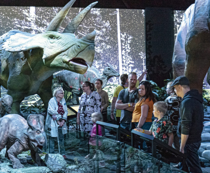 Dinosaurukset kiehtoivat jäsenten perheitä.