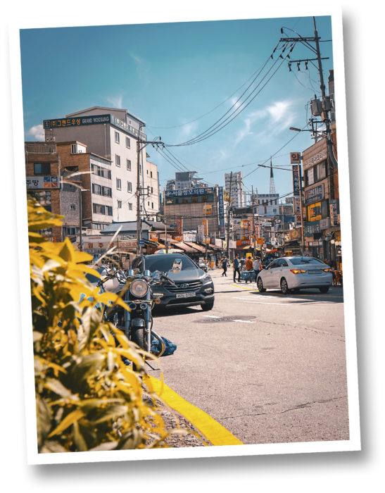 Korealaista kaupunkiarkkitehtuuria.