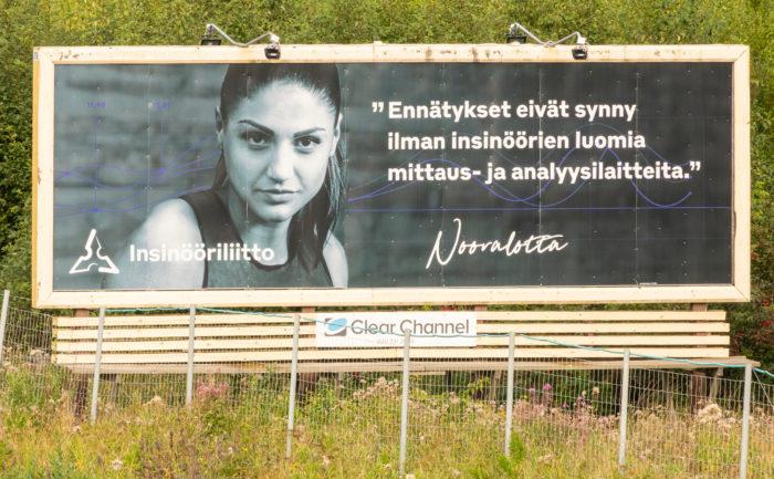 Pääteiden varsilla olevat suuret mainostaulut ovat osa Insinööriliiton kampanjaa.