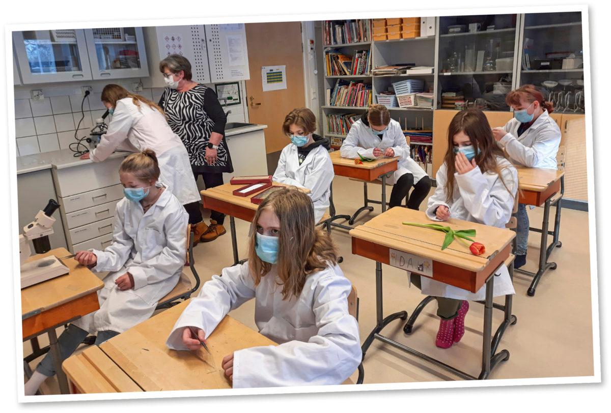 Tellervo Alanärä opastaa taustalla oppilasta mikroskoopin käytössä.